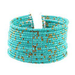 Colorful Seed Beads Wide Multi Layer Cuff Bracelet -
