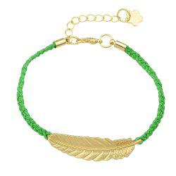 PU Leather Knitted with Gold Leaf Feather Bracelet -