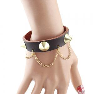 Punk Rock Style PU Rivet Tassel Female Bracelet -