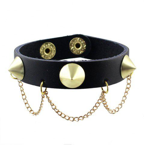 Shop Punk Rock Style PU Rivet Tassel Female Bracelet
