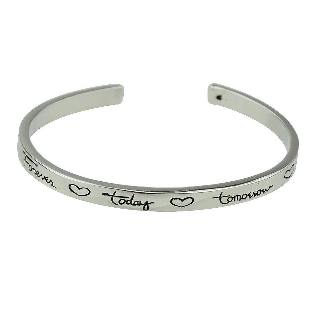 Store Silver Color Heart-shaped Letters Cuff Bangle