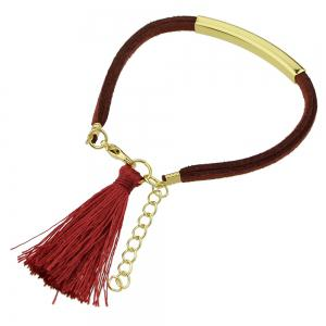 Colorful PU Leather Bracelets with Tassel Charm -