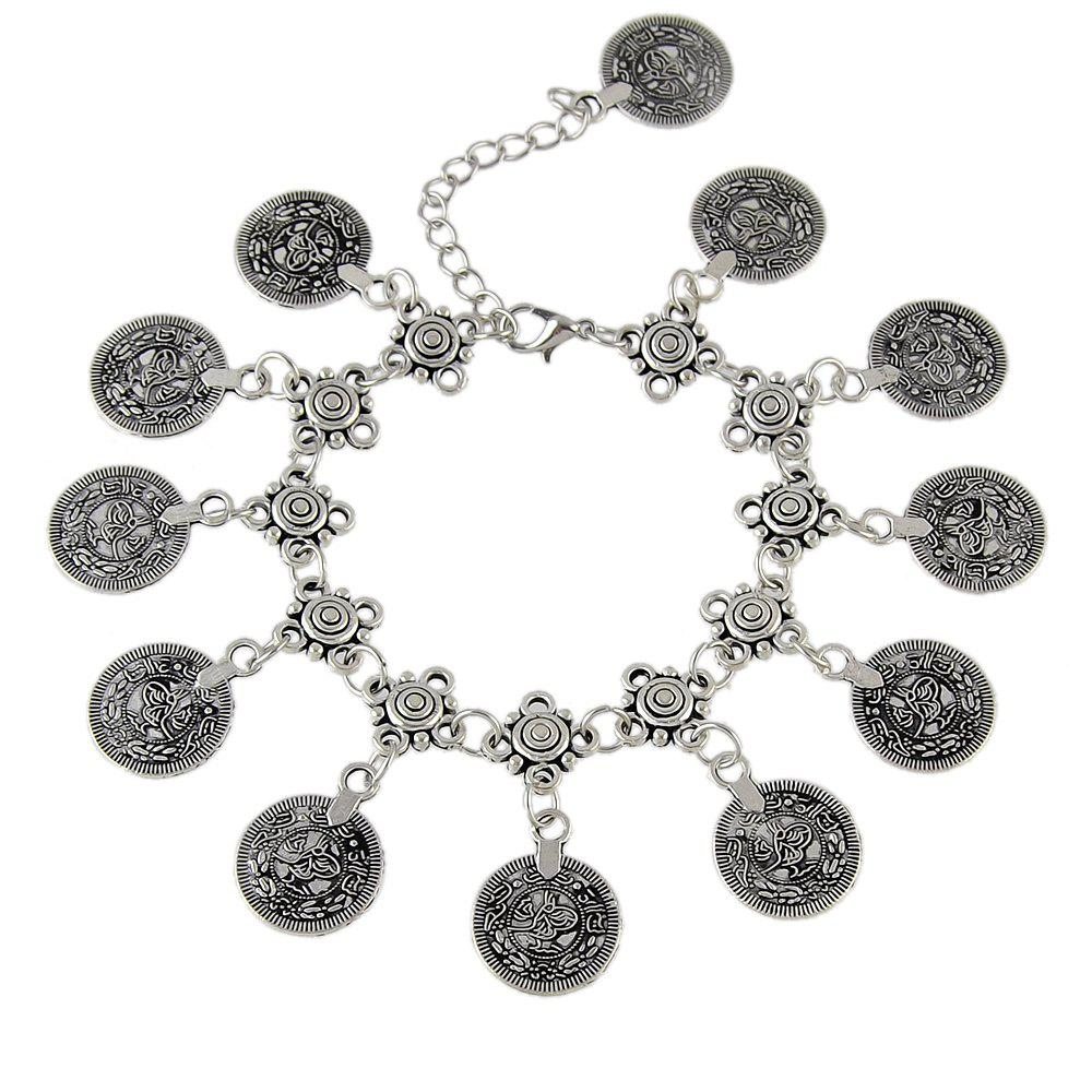 Sale Bohemian Silver Color Coin Charm Chain Anklets