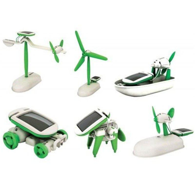 Affordable 6 in 1 Solar Power DIY Toy Robots Helicopter Plane Educational Children Gift