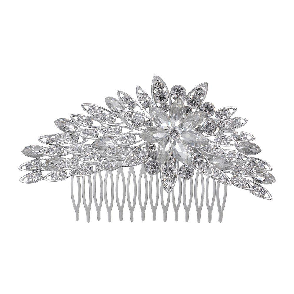 New Luxurious High-end Flower Rhinestone Comb