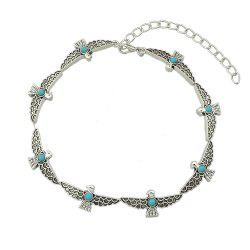 Silver Color Bird Choker Maxi Necklace with Stone -