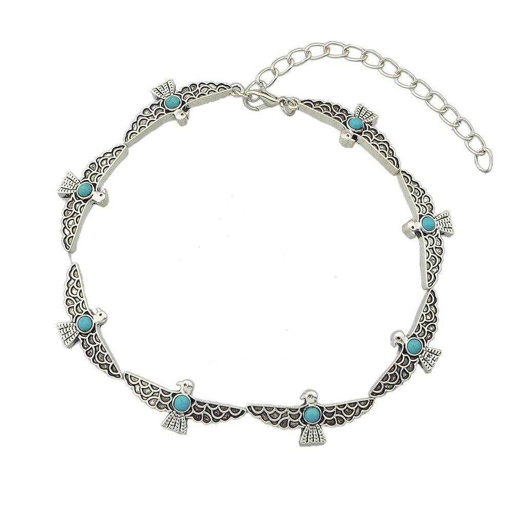 Unique Silver Color Bird Choker Maxi Necklace with Stone