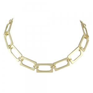 Gold-color Choker Individual Rectangular Splice Necklace -