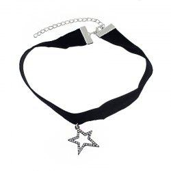 Minimalism Black Flannelette with Star Pendant Necklace -