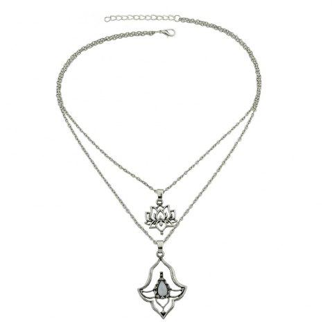 Store Multi Layer Chain Necklace with White Stone Flower Shape