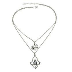 Multi Layer Chain Necklace with White Stone Flower Shape -