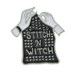 Gothic Punk Enamel Hand Tombstone Shape Cool Brooch -