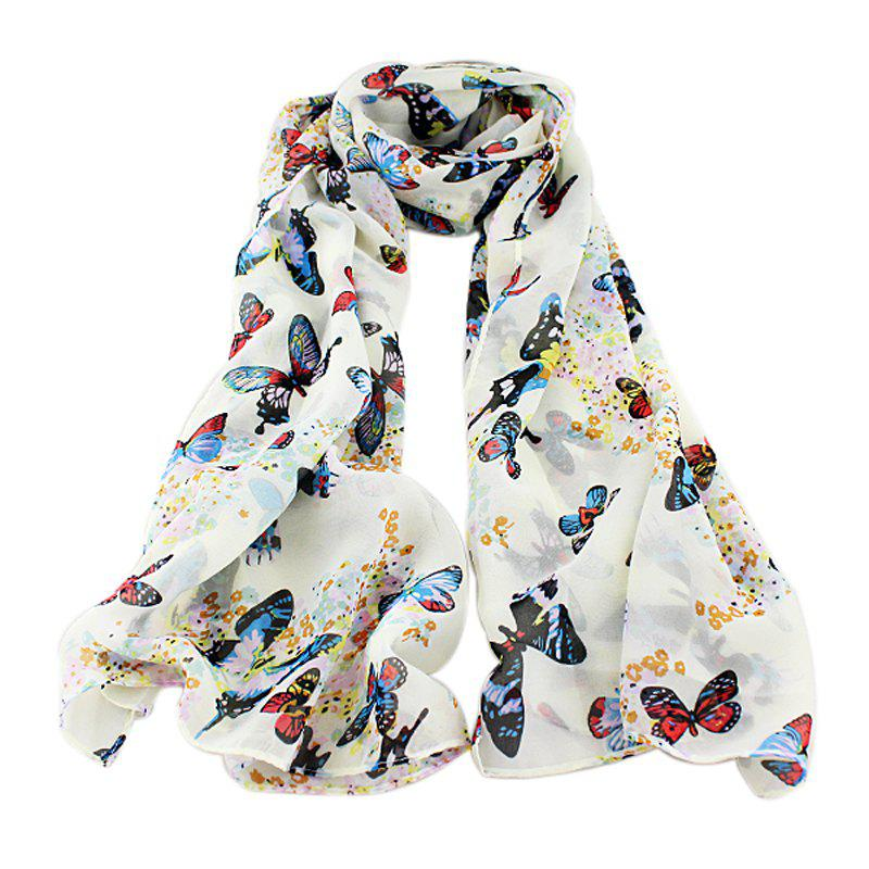 Hot Chiffon Butterfly Print Decoration Scarves