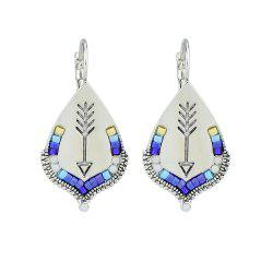 Silver Color with Beads Pattern Geometric Hoop Earrings -