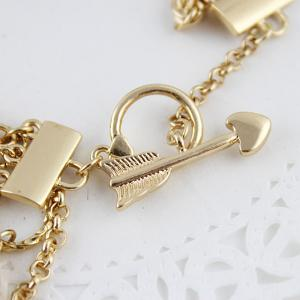 New Bowknot Rhinestone Gold-color Chains Charm Bracelet -