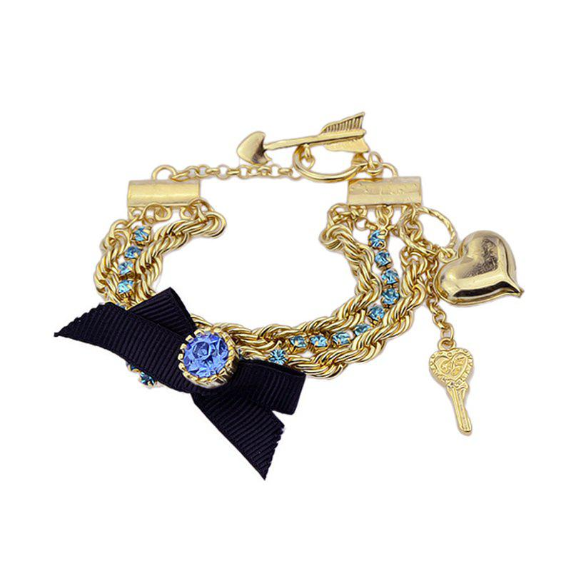Outfit New Bowknot Rhinestone Gold-color Chains Charm Bracelet