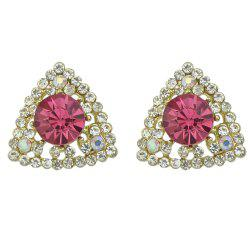 Crystal with Rhinestone Geometric Triangle Shape Earrings -