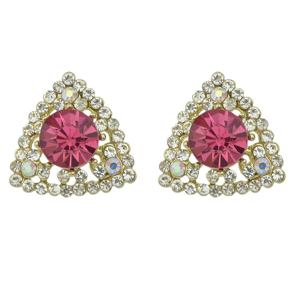 Discount Crystal with Rhinestone Geometric Triangle Shape Earrings
