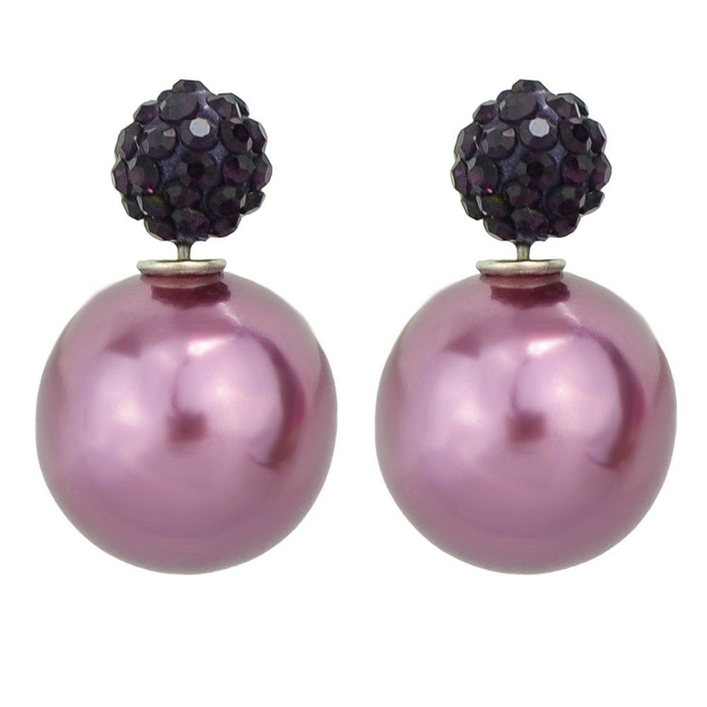 Best Candy Color Double Sided Simulated-pearl Small Earrings