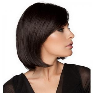 Black Partial Points Straight Wig -