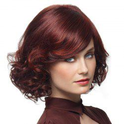 Wine Red Gradient Ramp Small Wave Short Curls Wig -