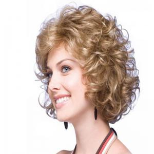 Brown Fluffy Little Curly Short Wig -