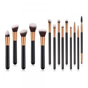 Branches Poignée en bois Noir Or Brun Blanc Pic Make Up Brush 14pcs -