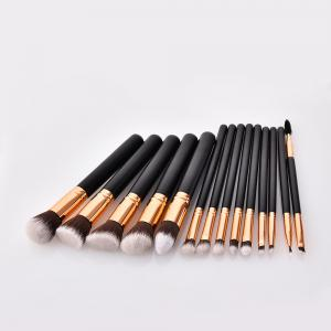 Branches Wooden Handle Black Gold Brown White Peak Make Up Brush 14pcs -
