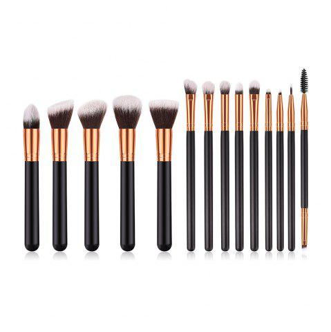 Outfits Branches Wooden Handle Black Gold Brown White Peak Make Up Brush 14pcs