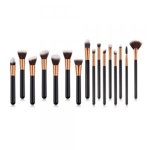 Branches Wooden Handle Black Gold Brown White Peak Small Fan Make Up Brush 14pcs -