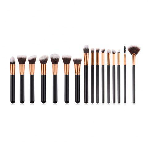 Buy Branches Wooden Handle Black Gold Brown White Peak Small Fan Make Up Brush 14pcs