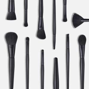 Branches Wooden Handle Black Wool Small Fan Make Up Brush 14pcs -