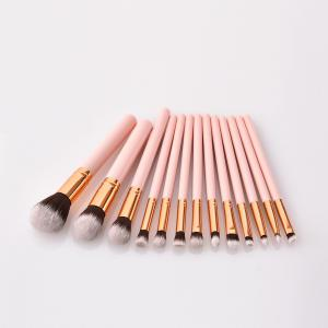 Branches Pink Wooden Handle - Brown White Peak Make Up Brush 13pcs -