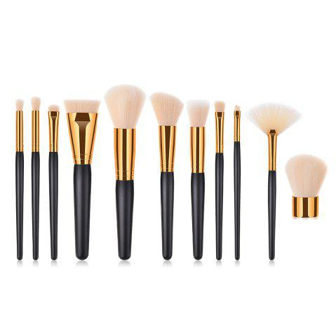 Branches en bois poignée Golden Pipe haut de gamme Make Up Brush 11pcs