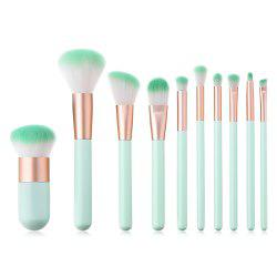 Branches Wooden Handle Mint Green Make Up Brush 10pcs -