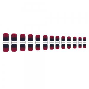 24PCS  Black Red Gradient Color Artificial  Short Square Full Cover Nail Tips -