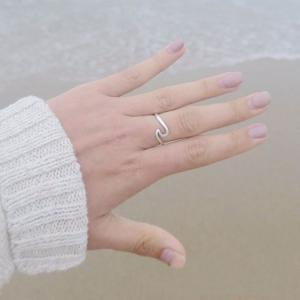 Simple Dainty Silver Plating Thin Wave Anneau Bijoux -