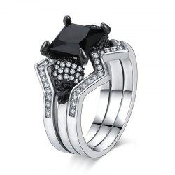 Woman Crystal Fashion Jewelry Punk Skull Rings -