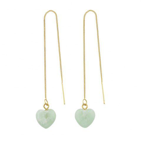 Outfit Long Chain with Stone Heart Shape Hanging Earrings