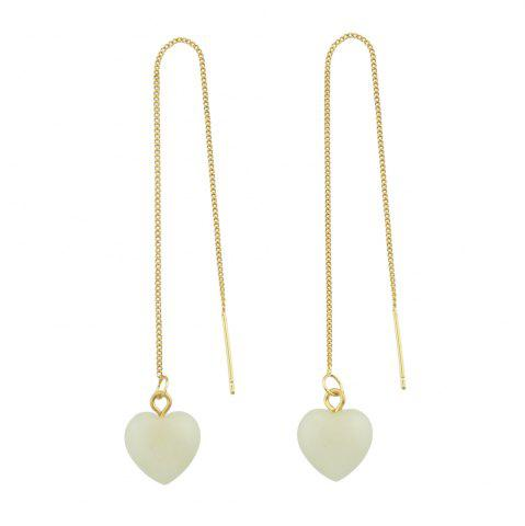 Unique Long Chain with Stone Heart Shape Hanging Earrings