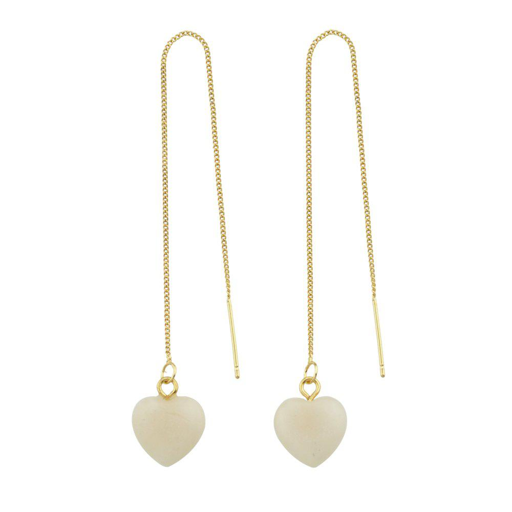 Online Long Chain with Stone Heart Shape Hanging Earrings