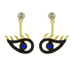 Gold-color with Black Rhinestone Eye Drop Earrings -