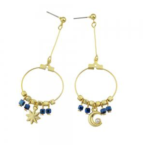 Gold-color Circle with Beads Star Shape Statement Earrings -