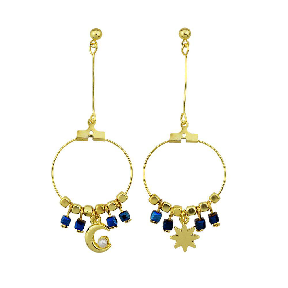 Outfits Gold-color Circle with Beads Star Shape Statement Earrings