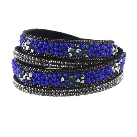 Trendy PU Leather Colorful Beads Decoration Wrap Bracelet