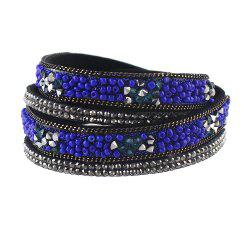 PU Leather Colorful Beads Decoration Wrap Bracelet -