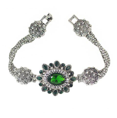New Vintage Style Rhinestone Flower Charm Bracelet for Women