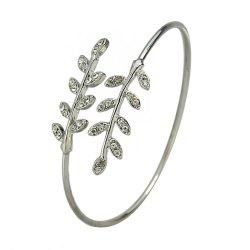 Wedding Party Jewelry Rhinestone Leaf Open Cuff Bracelet -