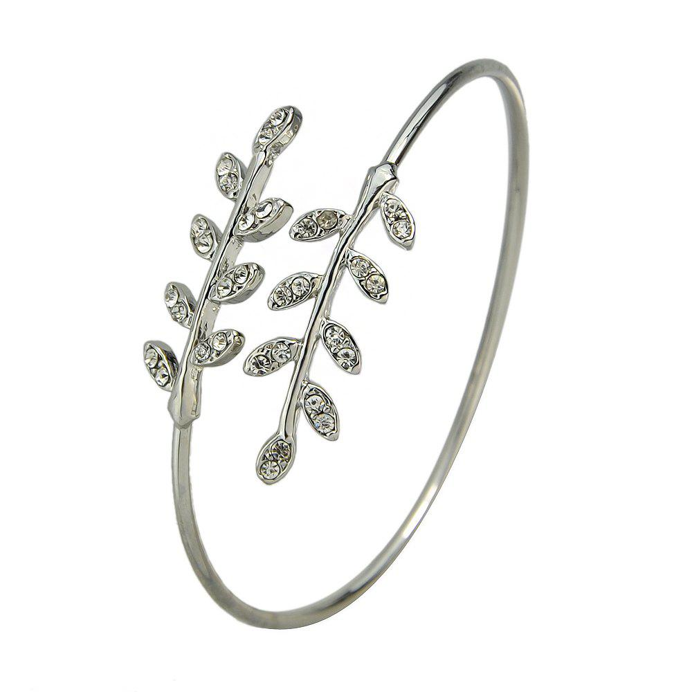 Buy Wedding Party Jewelry Rhinestone Leaf Open Cuff Bracelet