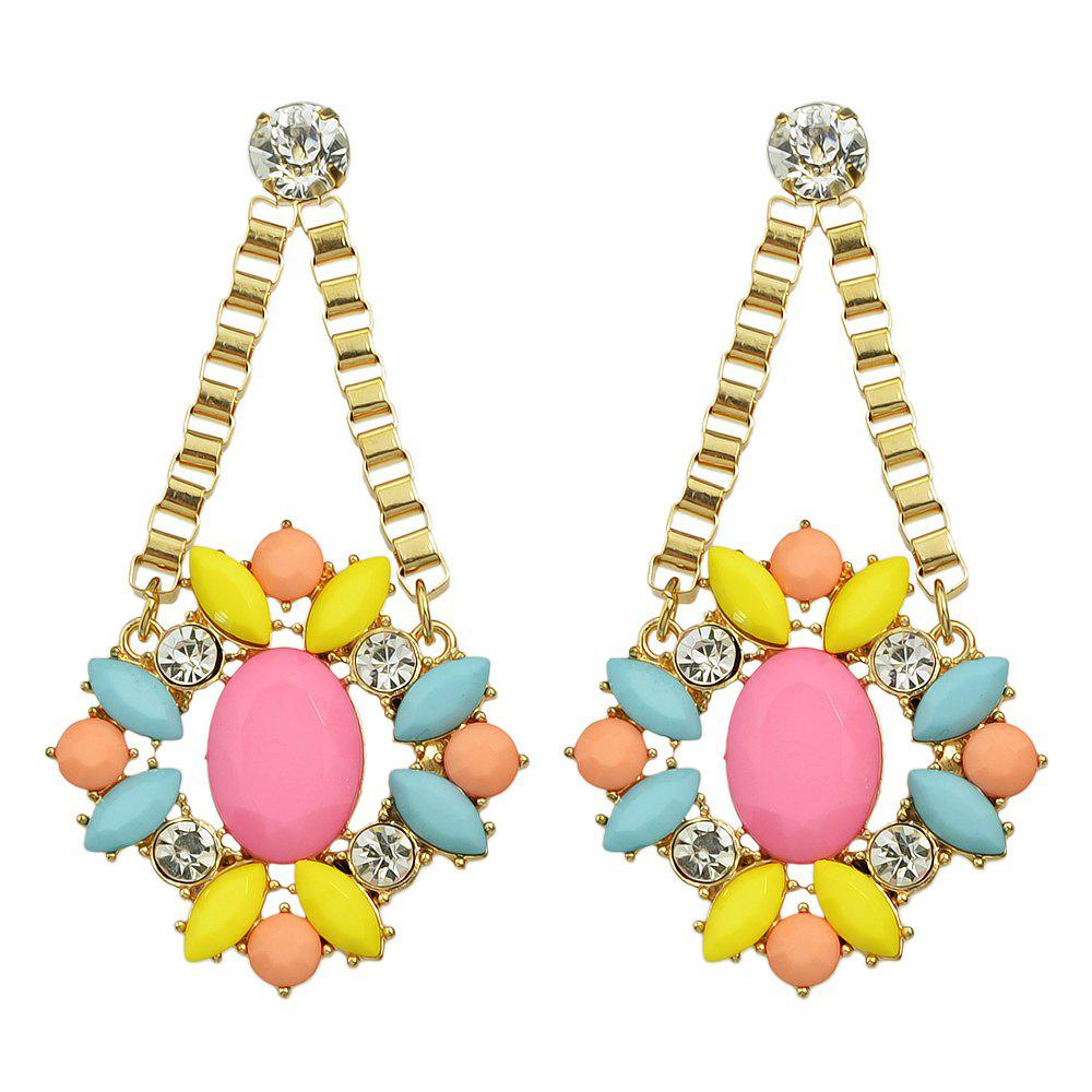 Affordable Rhinestone Colorful Bead Flower Party Drop Earrings